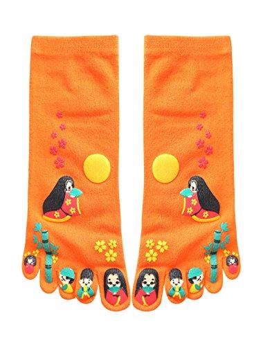 sourcingmap® 2 Paar Damen Japanesisch Cartoon Druck Zehe Socken Orange