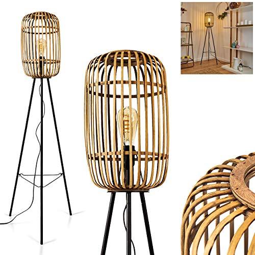 Lampadaire Mongolei en métal & bambou beige, luminaire de style Boho-chic créant un élégant jeu de lumière au mur, avec interrupteur sur le câble, pour 1 ampoule E27 max. 60 Watt, compatible LED