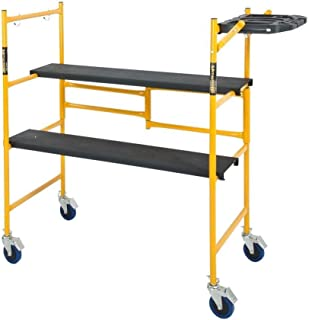 Best Metaltech IMCNAT 4 x 2 ft. Mini Rolling Scaffold 500 lb. Load Capacity with Tool Shelf, 4