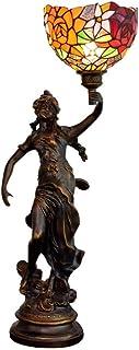 QGL-HQ 8 Pouces Tiffany Lampe de Table en Verre teinté Fille Deux Couleurs Rose Motif Mode Main Lampe de Chevet Vie de la ...