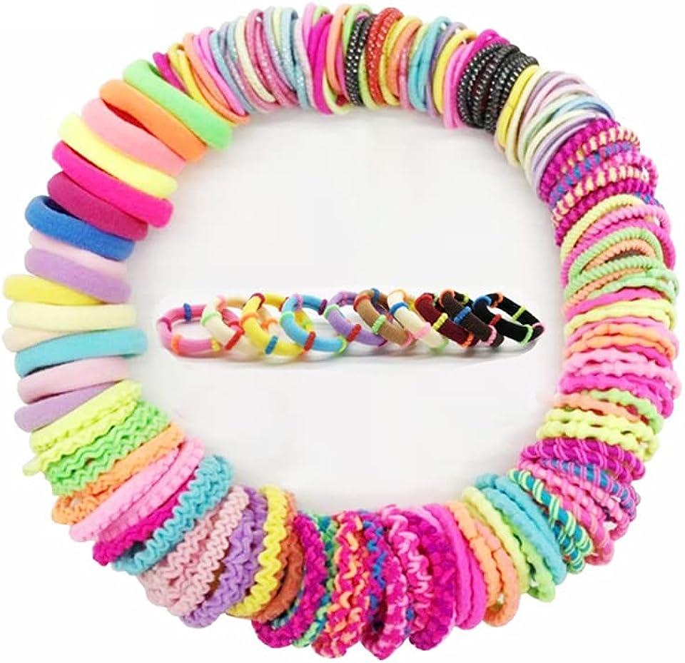 Elastische Haargummis für Mädchen, 100 Stück Mehrfarbiger Klein Zopfgummi Mini Dünne Haarschmuck für Kinder Baby Elastische Baby Haargummis