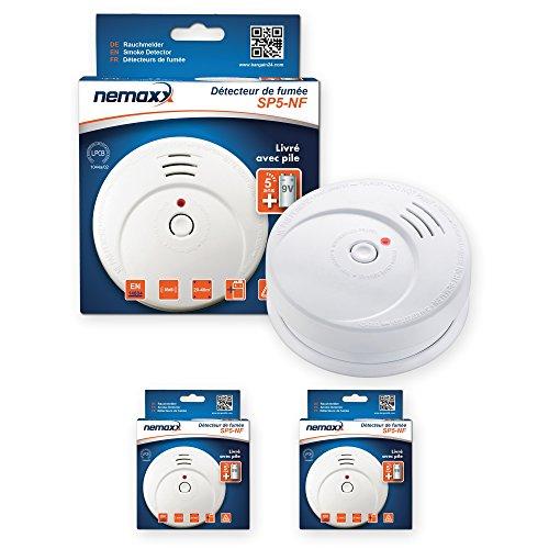 2X Nemaxx SP5-NF Feuermelder - hochwertiger batteriebetriebener Rauchwarnmelder 9V Alkalibatterie - weiß