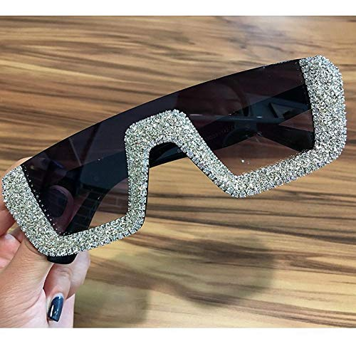 Moda Gafas De Sol Cuadradas De Lujo para Mujer Diseñador De La Marca Señoras Gafas De Sol De Diamantes De Imitación De Gran Tamaño Hombres Gafas De Medio Marco para Mujer Uv400 Plata