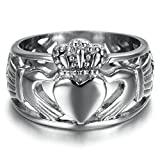 Bishilin Edelstahl Dreieinigkeit Band Hochzeitringe Claddagh Ring Für Damen und Herren Größe 54 (17.2)