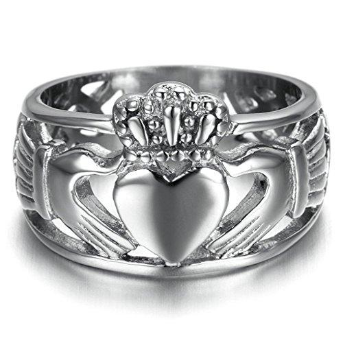 Bishilin Edelstahl Dreieinigkeit Band Hochzeitringe Claddagh Ring Für Damen und Herren Größe 65 (20.7)