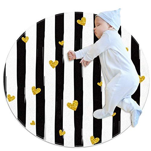 PLOKIJ Alfombra circular pequeña antideslizante redonda alfombra lavable uso para guardería, amor con rayas verticales negras