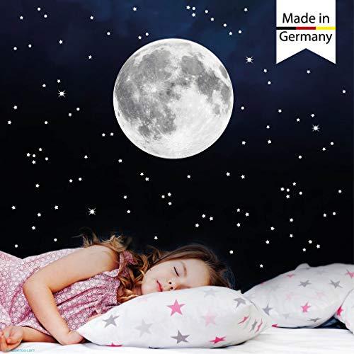 Wandtattoo Loft Leuchtaufkleber Mond 30 cm und 350 Leuchtsterne Leuchtpunkte nachtleuchtend Leuchtsticker Kinderzimmer fluoreszierend leuchtet im Dunklen