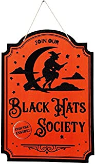 Greenbriar International Halloween Society of Black Hats Wooden Wall Hanging Door Decor 9 1/2 x 13 Inches