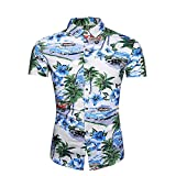 Camisa Hombre Slim Fit Transpirable Kent Collar Hombres Camisa Hawaiana Moda Vintage Botones Estampados Camisa Playa Manga Corta Negocios Urbanos Camping Hombre Camisa Casual G-DC40 L