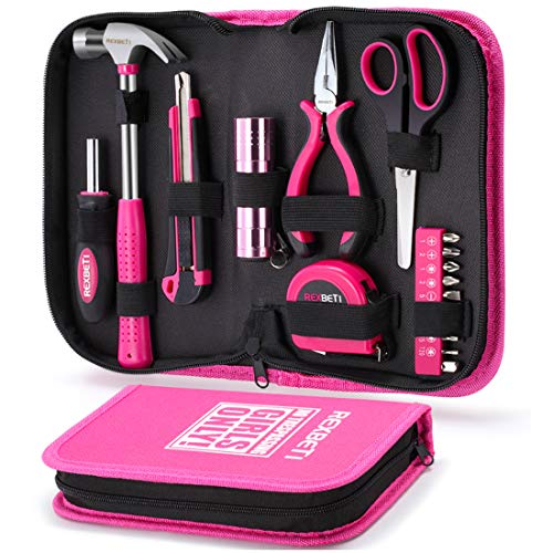 REXBETI 17-Piece Women Tool Set, Ladies Pink hand Tool Kit with Durable Carrying Pouch, Suitable for DIY, Home Maintenance