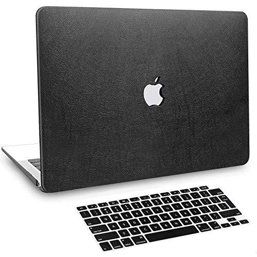 BELK Funda MacBook Air 13 Pulgadas 2020 2019 2018 con Retina Display & Touch ID, Delgado Cubierta de Cuero PU Dura Carcasa Rígida con Cubierta Teclado (Modelo A2337 M1 A2179 A1932) Negro