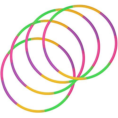 com-four® 4X Hula-Hoop Reifen zum Zusammenstecken - teilbarer Hullahub-Reifen - Fitness-Reifen - HoolaHoop für Kinder und Erwachsene - Grün, Lila, Pink, Orange (Ø 58cm - 4 Stück)
