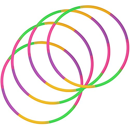 com-four® Neumáticos 4X Hula-Hoop para armar - neumáticos divisibles Hullahub - neumáticos de Fitness - HoolaHoop para niños y Adultos - Verde, Morado, Rosa, Naranja (Ø 58cm - 4 Stück)