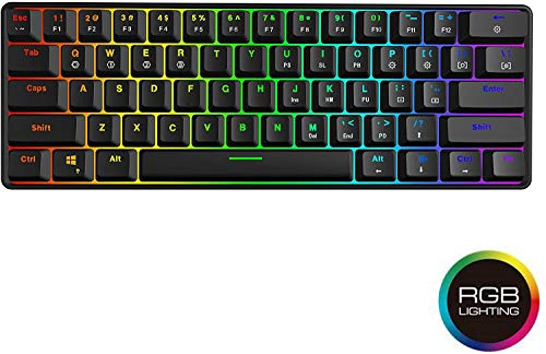 EPOMAKER SK61 61 Keys Hot Swappable 60% Mechanical Keyboard with RGB Backlit, ABS Keycaps, Dustproof IP68 Waterproof for Win/Mac/Gamers (Gateron Optional Brown, Black)