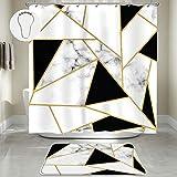 Duschvorhang-Set mit rutschfestem Teppich Schwarz Weiß Marmor Duschvorhang Polyester Badezimmer Vorhang & Matte mit 12 Metallhaken