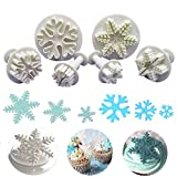 Nuluxi Snowflake Cake Plunger Cutter Mould Snowflake Shape Cake Plunger Cutter Cake Modeling Tool Baking Accessories Suitable for Decoration Cupcake Fondant Sugar Craft Cookie Pastry Biscuit(6 Pieces)