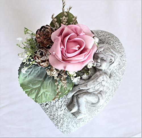 Liatris Floristik Gedenkstein, Grabherz Engel Farbe Grau aus Steinguss mit künstlicher Rose und Blättern Gedenkschmuck 17 cm x 17cm (Rosa)