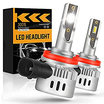 LRTER H11/H8/H9 LED Headlight Bulbs 60W 12000LM 6000K Cool White 300% Brighter LED Headlight Conversion Kit High/Low Beam Mini Size Pack of 2