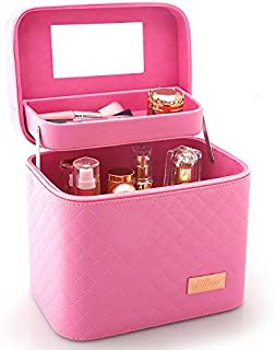 Sooyee Professional Makeup Train Case with Mirror - Cosmetic Studio Box Designed To Fit All Cosmetics Make Up Bag Organizer Train Case for Women (PINK)
