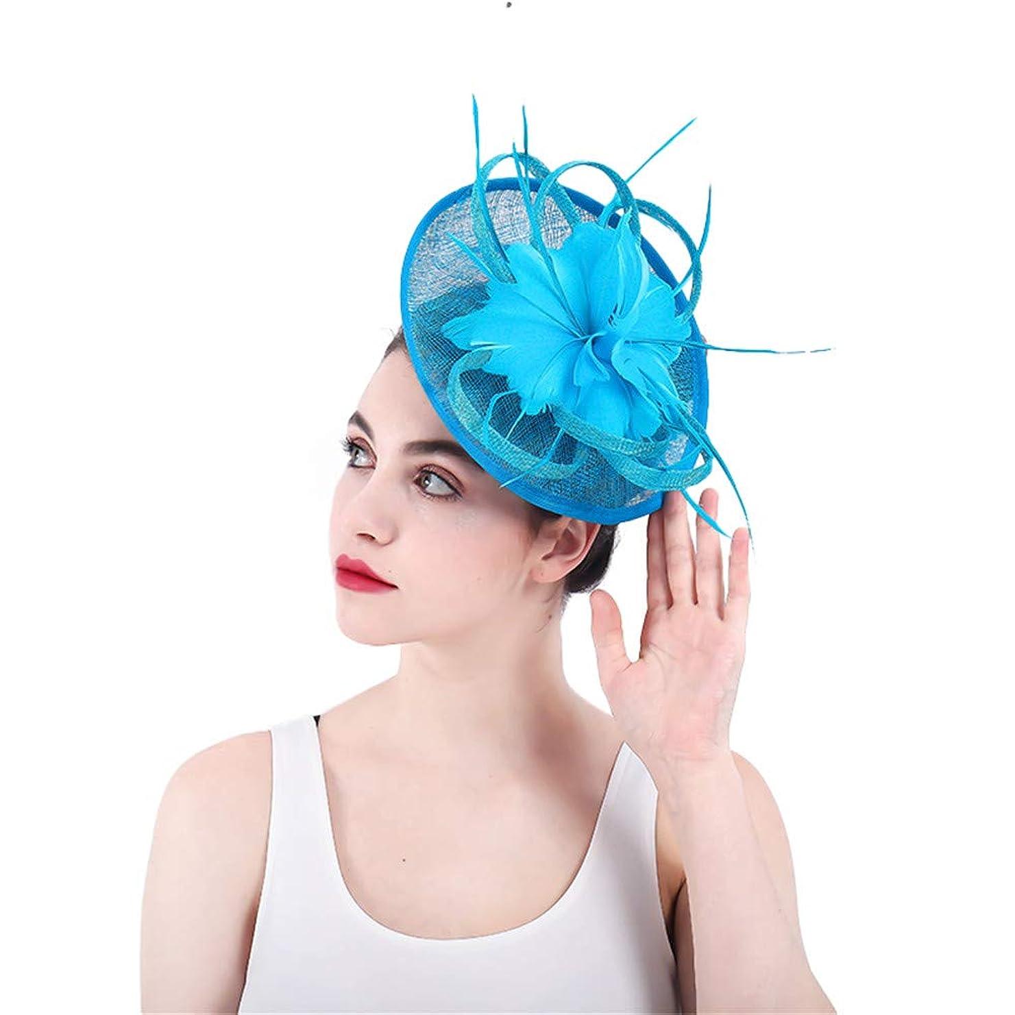 山岳香ばしいバーベキュー女性の魅力的な帽子 女性の青い羽の帽子の魅力的なカクテルパーティーの帽子の結婚式の帽子の花のヘアピン女性の日の競争高貴なアスコット