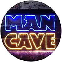 Man Cave Garage Display Dual Color LED看板 ネオンプレート サイン 標識 青色 + 黄色 400 x 300mm st6s43-i3127-by