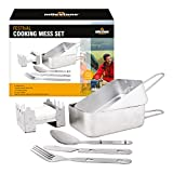 Milestone Camping Men's Camping 66000 Festival Cooking Set Aluminium, <span class='highlight'>Stainless</span> <span class='highlight'>Steel</span> ~ Mess tins, Cutlery, Stove, Silver