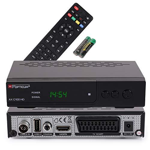 RED OPTICUM AX C100 HD Kabelreceiver mit PVR-Aufnahmefunktion I Digitaler Kabel-Receiver HD - EPG - HDMI - USB - SCART - Coaxial Audio I Receiver für Kabelfernsehen I DVB-C Receiver schwarz