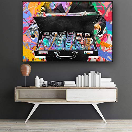 N/A Pintura Decorativa en Lienzo Colorido Graffiti Hucha Hombre Cuadros Lienzo Pintura Pared Arte Carteles e Impresiones para...