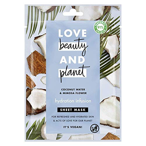 Love Beauty and Planet - Mascarilla de Tejido agua de coco y flor de mimosa Hydration Infusion
