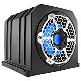 DS18 NXL10SUB-LD/BK 10' 700 W IP65 Marine Subwoofer Compact Ported Enclosure with A Reflex On The Back for Bass Boost, Integrated LED Lightening, Black