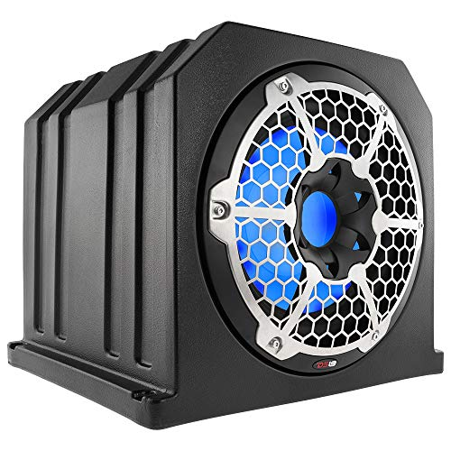 "DS18 NXL10SUB-LD/BK 10"" 700 W IP65 Marine Subwoofer Compact Ported Enclosure with A Reflex On The Back for Bass Boost, Integrated LED Lightening, Black"