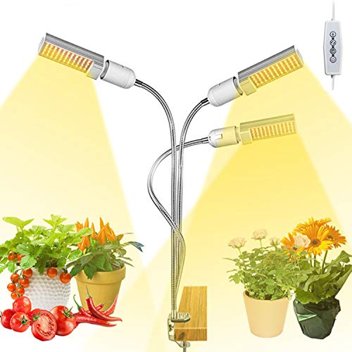 Grow Lights for Indoor Plants Full Spectrum, Elaine 132W Auto ON/Off Plant Grow Light 3/6/12H Timing Function Sunlike Clip On Grow Light Lamp for Succulents and Seed Starting