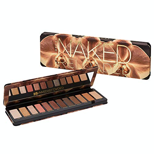 Urban Decay Naked Reloaded Eyeshadow Palette, 12 Universally Flattering Neutral Shades - Ultra-Blendable, Rich Colors with Velvety Texture - Set Includes Mirror & Double-Ended Makeup Brush