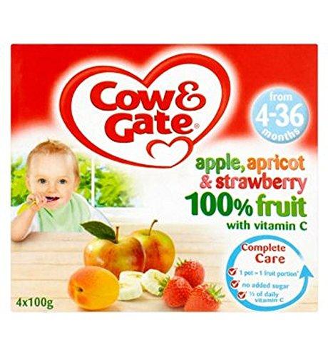 Cow & Gate Apfel, Aprikose Und Erdbeere 100% Frucht Mit Vitamin-C 4-36 Monate 4 X 100 G
