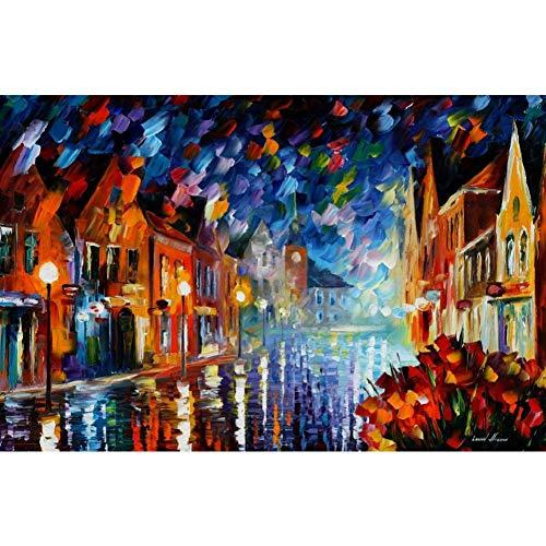 YLNYH Splendidi Dipinti Paesaggistici Congelati Notturni Spatola Arte su Quadri Murali in Tela per Soggiorno