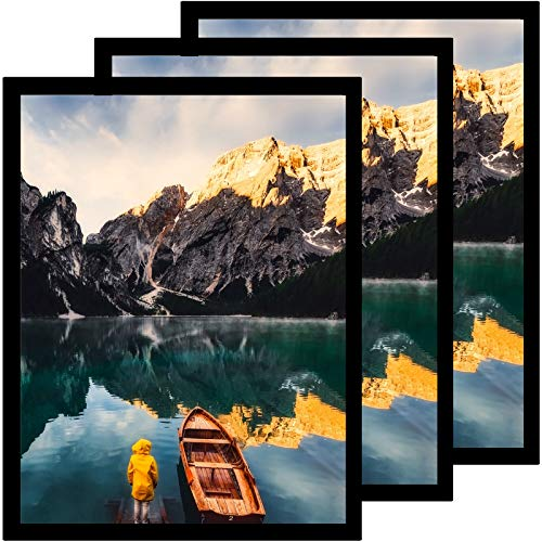QEQRUG 16x20 Frame For Picture/Photo/Poster/Arts,16 x 20 poster frame Black,3Pack,Wood,Plexi Glass,Wall Hanging,2 Ways to Display