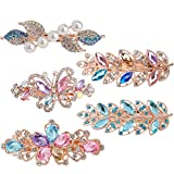 ACO-UINT 5 Pack Hair Barrettes for Women, Crystal Hair Clips Barrettes for Thick Hair Butterflies Clips Decorative Hair Pins Pearl Hair Clips Hair Accessories for Women and Girls