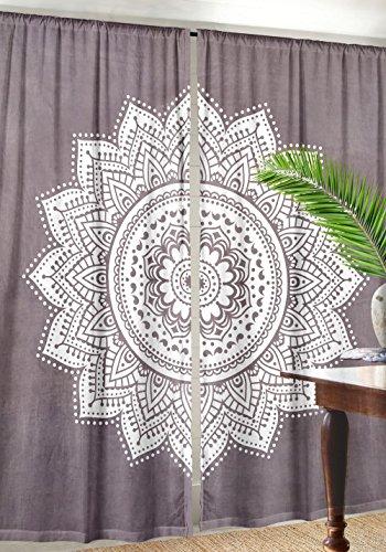 Labhanshi Ombre Mandala Window Curtains Indian Drape Balcony Room Decor Curtain Boho Set