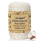 Hodekt Makramee Baumwoll Garn 3mm * 300m, 100% Naturbeige Baumwollgarn, Garn ist Rein Geruchlos, Leicht Stricken, die Baumwollkordel Wird FüR DIY Handwerk, PflanzenaufhäNger Wandbehang, Macrame Cord