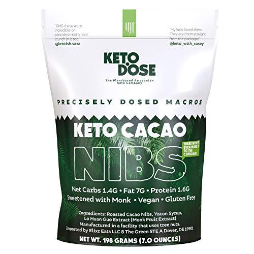 KetoDose Cacao Nibs Sweetened I with Monk Fruit I Cacao, Sugar Free, Keto, Paleo Non-GMO, Antioxidant and Vegan Friendly I Sweet like Chocolate Chips I 7oz