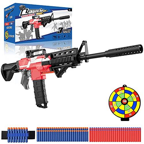 Spielzeug Pistole elektrisch für Nerf Gun Pfeile, motorisierter Blaster groß mit Magazin, 100 Darts, USB Aufladbar, 3 Modi Schuss Schnellfeuer, automatische Maschinengewehr Kinder Geschenk Jungs ab 6