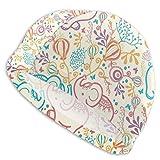MKLQ Gorro de baño Feng WeiDSFH para Hombres Mujeres Elefantes con Flores Patrón sin Costuras Sombrero de natación para Piscina para Adultos Cabeza Grande Chicos de Pelo Gorra de baño para niña Blanc