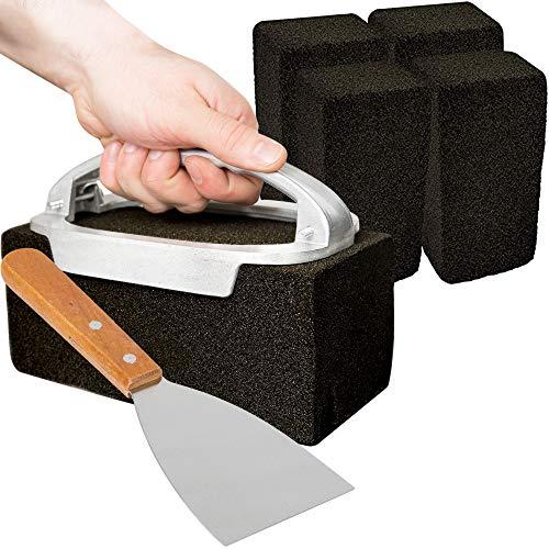 CUSINIUM [5 Pack] Griddle Cleaning Brick Set - Grill Brick Holder w/Steel...