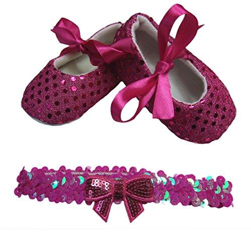 TrendyDress NEU! Süße Baby Ballerina in pink mit Pailletten inkl. passendem Pailletten Haarband Gr. 16,17,18,19 (19)