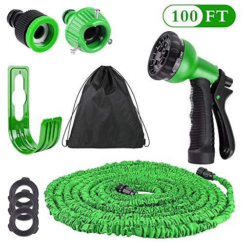 Hospaop Gartenschlauch, Flexibler Gartenschlauch - 100 FT, FlexiSchlauch Wasserschlauch Schlauch Dehnbarer Wasserschlauch Flexi Wonder, Flexi Gartenschlauch mit 8 Funktion Garten Handbrause - Grün