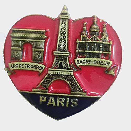 MUYU Magnet Aimant de réfrigérateur 3D en Forme de cœur Paris France en métal, décoration de Maison et Cuisine, Autocollant magnétique pour réfrigérateur Paris France Cadeau Souvenir