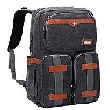 WITZMAN Canvas Backpack Vintage Travel Backpack for Men Laptop Rucksack with Multi-Pocket (WA331M Classic Black)