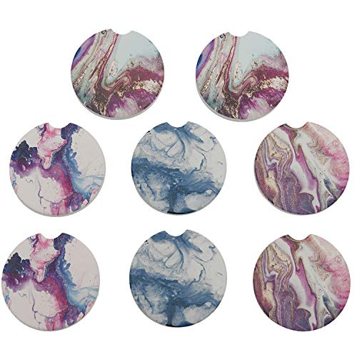 Set of 8 Marble Absorbent Ceramic Car Coasters for Cupholder with Finger Notch Easy Removal Best Auto Accessory Keep Vehicle Cup Holder Dry and Clean