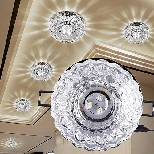 Downlight LED de Cristal, luz de Techo empotrada de 3W con Apertura de 5-8 cm, Foco Decorativo LED para Pasillo Creativo en Pasillo, Pasillo, Sala de Estar, Dormitorio(Blanco)