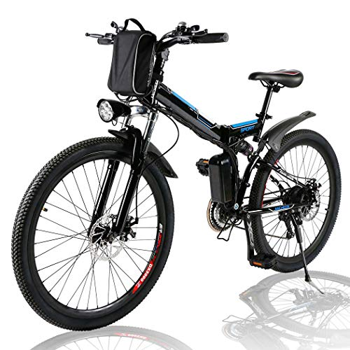 Angotrade 26 inch Electric Bike Folding Mountain E-Bike 21 Speed 36V 8A Lithium Battery Electric Bicycle for Adult (Carbon)